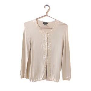 Club Monaco Silk & Cotton Blend Sequin Cartigan
